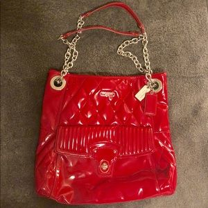 Coach Patent Leather Quilted Tote